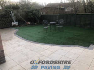 Completed Patio Installation With Sandstone