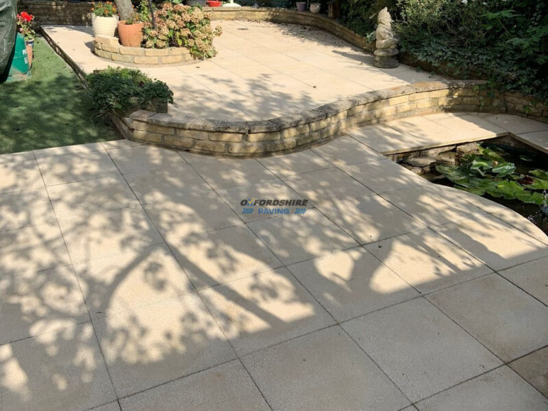 Patio and Sidepath with Buff Textured Slabs in Witney